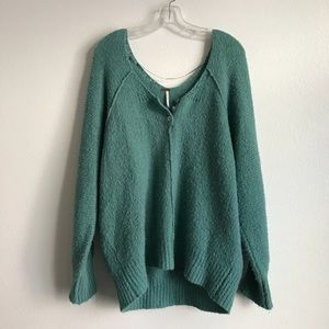 Free People Turquoise Wise Neck Sweater